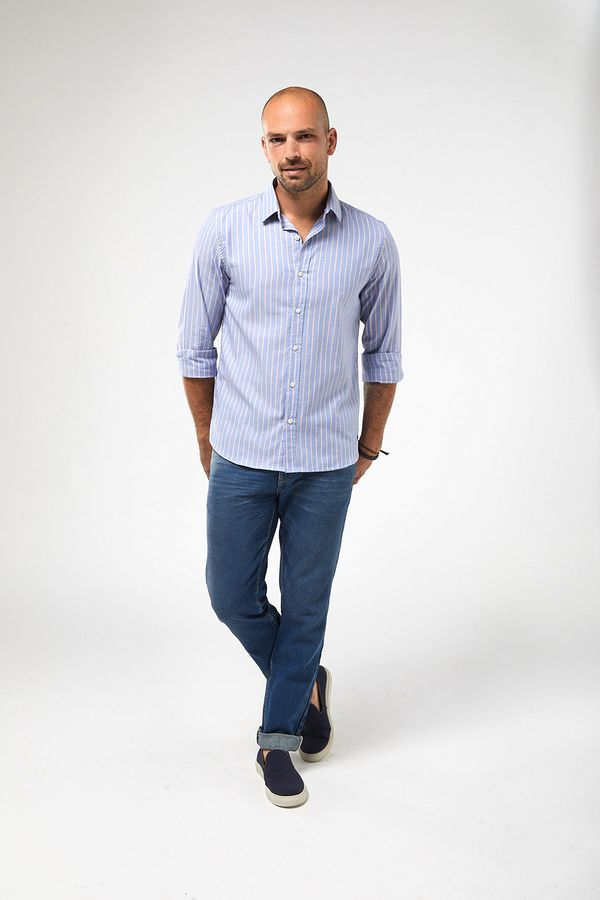 Camisa-ML-Oxford-Listra-Bicolor---Azul-Branco-Vermelho---Tamanho-P